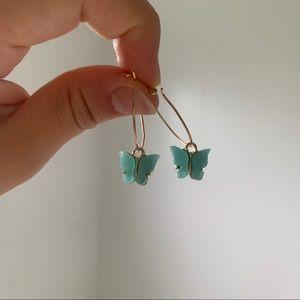 blue butterfly hoops earrings